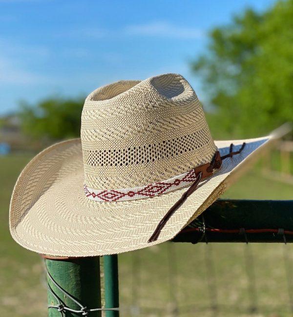 26c1dc168b2726f552077fb3b4d7ce09fb4e910e 1 <ul> <li>Hand made beaded hat band</li> <li>One Size Fits 7 1/4 - 7 5/8</li> <li>Glass beads</li> <li>100% leather straps to help tighten the hat band</li> </ul>