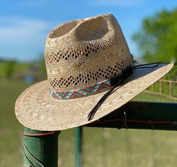 6a71522b8a81d9f1273d10d5808f0c66bb585f3d 1 <ul> <li>Hand made beaded hat band</li> <li>One Size Fits 7 1/8 - 7 1/2</li> <li>Glass bead</li> <li>100% leather straps to help tighten the hat band</li> </ul>